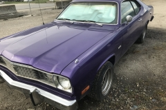Duster1Year: 1975 Make: Dodge Model: Duster Colour: Purple Style: 2 Door Engine: Slant 6 Transmission: Auto Interior: Fair condition – white Kilometers: Additional Info: Registration  : BC (current) Asking Price: $10,000 OBO